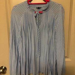 Pleated Blue and White High Neck Top